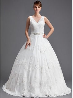 Ball-Gown V-Neck Chapel Train Tulle Wedding Dress With Beading Appliques Lace Sequins
