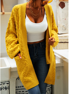 Cable-knit Solid Pocket Polyester Cardigans Sweaters