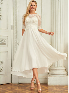 Scoop Neck Asymmetrical Chiffon Wedding Dress With Beading Sequins