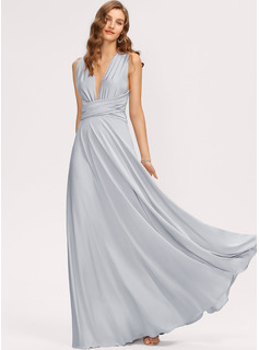 A-Line One-Shoulder V-neck Floor-Length Jersey Prom Dresses