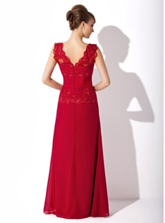A-Line V-neck Floor-Length Chiffon Mother of the Bride Dress With Ruffle Lace Beading Sequins