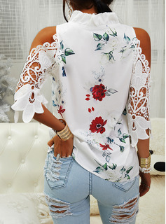 Regular Poliestere Spalle esposte Floreale Pizzo Stampa L S M XL XXL Camicie
