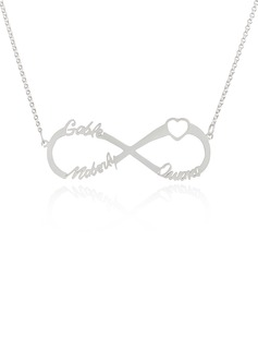 Custom Sterling Silver Infinity Three Name Necklace Infinity Name Necklace With Heart - Birthday Gifts Mother's Day Gifts