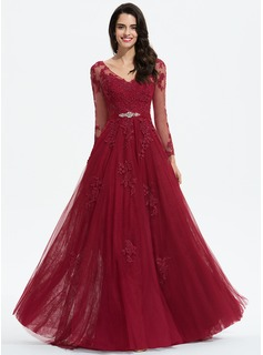 A-Line V-neck Sweep Train Tulle Prom Dresses With Beading Appliques Lace