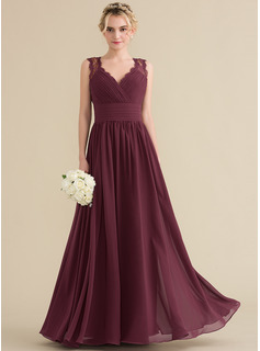 A-Line V-neck Floor-Length Chiffon Lace Bridesmaid Dress With Ruffle Bow(s)