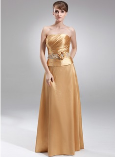 A-Line/Princess Strapless Floor-Length Charmeuse Mother of the Bride Dress With Ruffle Beading Flower(s) Sequins