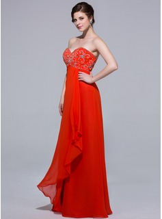 Empire Sweetheart Floor-Length Chiffon Evening Dress With Beading Cascading Ruffles