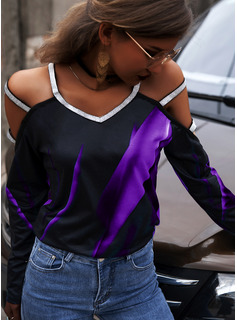 Regular Fitted Print Sequins Casual Sexy Long Sleeves
