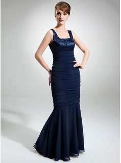 Trumpet/Mermaid Square Neckline Floor-Length Chiffon Charmeuse Mother of the Bride Dress With Lace Beading