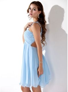 Empire One-Shoulder Knee-Length Chiffon Homecoming Dress With Ruffle Beading Appliques Lace