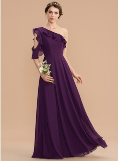 One-Shoulder Floor-Length Chiffon Bridesmaid Dress With Cascading Ruffles