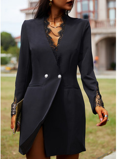 Lace Solid Bodycon V-Neck Long Sleeves Midi Elegant Little Black Dresses