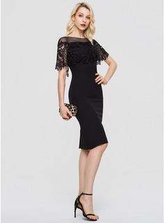 Sheath/Column Scoop Neck Knee-Length Stretch Crepe Cocktail Dress