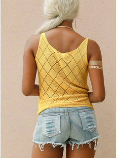 Regular Polyester Strap Solid Knit Blouses