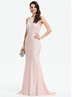 Trumpet/Mermaid Halter Sweep Train Jersey Prom Dresses With Lace Beading