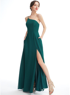 A-Line One-Shoulder Floor-Length Bridesmaid Dress With Split Front Pockets
