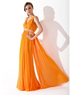 A-Line/Princess V-neck Floor-Length Chiffon Prom Dresses With Ruffle Beading