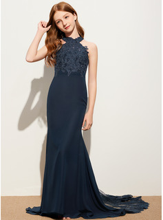 Trumpet/Mermaid Scoop Neck Sweep Train Chiffon Lace Junior Bridesmaid Dress