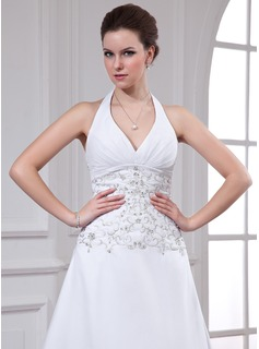 A-Line/Princess Halter Chapel Train Chiffon Wedding Dress With Embroidered Beading Sequins