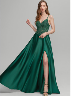 A-Line V-neck Floor-Length Satin Prom Dresses With Split Front
