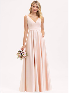 V-neck Floor-Length Satin Bridesmaid Dress With Pockets