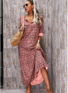 Print Shift V-Neck 1/2 Sleeves Maxi Boho Casual Vacation Dresses
