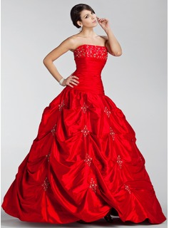 Ball-Gown Strapless Floor-Length Taffeta Quinceanera Dress With Embroidered Ruffle Beading