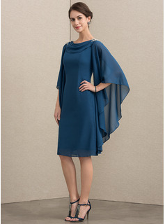 Sheath/Column Cowl Neck Knee-Length Chiffon Mother of the Bride Dress With Beading