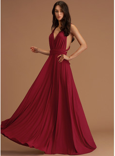 A-Line V-neck Floor-Length Jersey Evening Dress