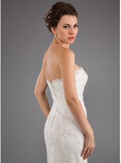 Trumpet/Mermaid Strapless Sweep Train Satin Wedding Dress With Appliques Lace Sequins