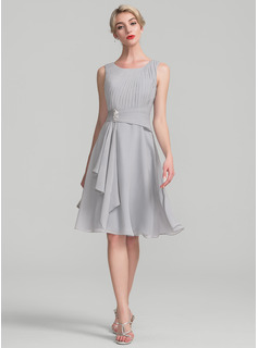 A-Line Scoop Neck Knee-Length Chiffon Cocktail Dress With Beading Cascading Ruffles