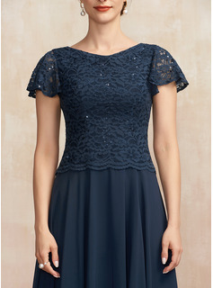 A-Line Scoop Neck Ankle-Length Chiffon Lace Cocktail Dress With Sequins