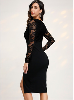 Sheath/Column V-neck Knee-Length Cocktail Dress