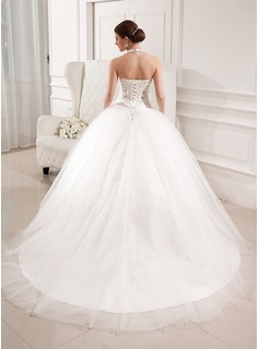 Ball-Gown Halter Chapel Train Tulle Wedding Dress With Embroidered Ruffle Flower(s)