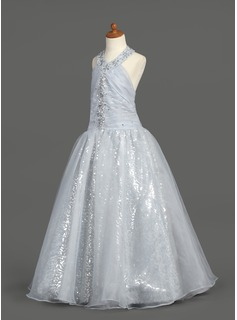 A-Line/Princess Floor-length Flower Girl Dress - Organza/Sequined Sleeveless Halter With Ruffles/Beading