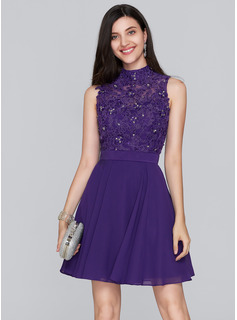 A-Line High Neck Short/Mini Chiffon Homecoming Dress