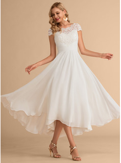 Scoop Neck Asymmetrical Chiffon Wedding Dress