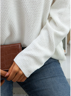 Solid Cotton Knit Tops Sweaters