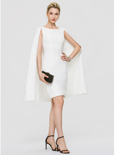 Sheath/Column Scoop Neck Knee-Length Stretch Crepe Wedding Dress