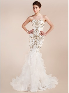 Trumpet/Mermaid Sweetheart Court Train Organza Lace Evening Dress With Beading Sequins Cascading Ruffles
