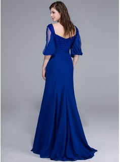 Trumpet/Mermaid Sweetheart Sweep Train Chiffon Evening Dress With Lace Beading Sequins