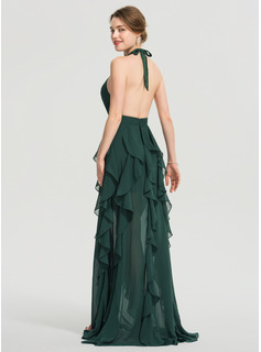 A-Line Halter Floor-Length Chiffon Prom Dresses With Split Front Cascading Ruffles