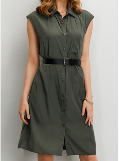 Polyester With Button/Solid Knee Length Dress