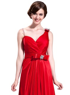 A-Line/Princess Sweetheart Sweep Train Charmeuse Bridesmaid Dress With Ruffle Beading Bow(s)