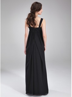 Empire Square Neckline Floor-Length Chiffon Maternity Bridesmaid Dress With Ruffle