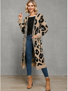 Animal Print Polyester Cotton Cardigans Sweaters