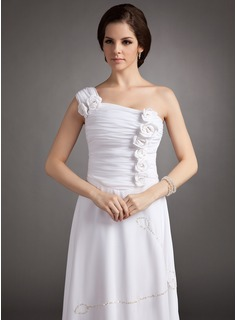 A-Line/Princess One-Shoulder Floor-Length Chiffon Holiday Dress With Ruffle Beading Flower(s) Sequins