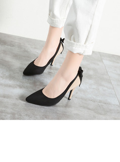 Women's Suede Patent Leather Stiletto Heel Pumps Closed Toe With Bowknot shoes