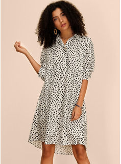 Polyester With Button/PolkaDot Knee Length Dress