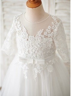 Tea-length Flower Girl Dress - Tulle Lace 3/4 Sleeves Scoop Neck With Bow(s)